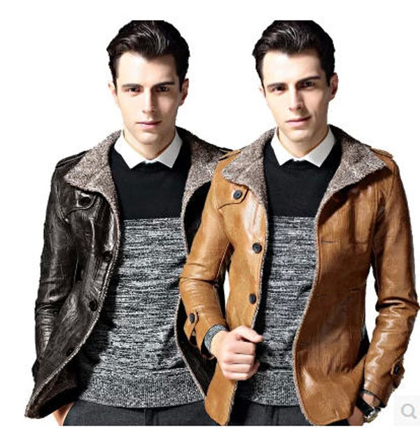 Short Slim Winter font b Men S b font Leather font b Jacket b font Plus