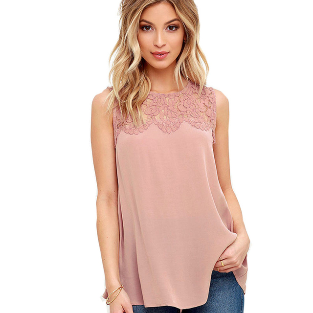 d16a25bb152be women blouses 2019 summer plus size Chiffon Lace Sleeveless Shirt Blouse  Casual Tank Tops lace womens tops lace crochet