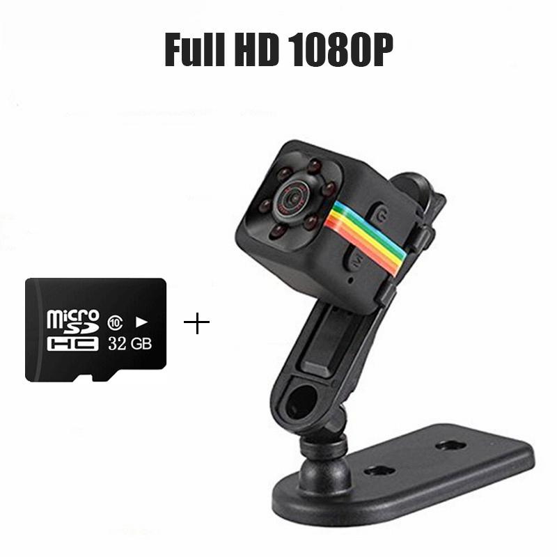 Mini Camera HD 1080P Night Version Camera Mini Motion Sensor Cam Camera Video Recorder Micro Memory Card TF Card 32GB