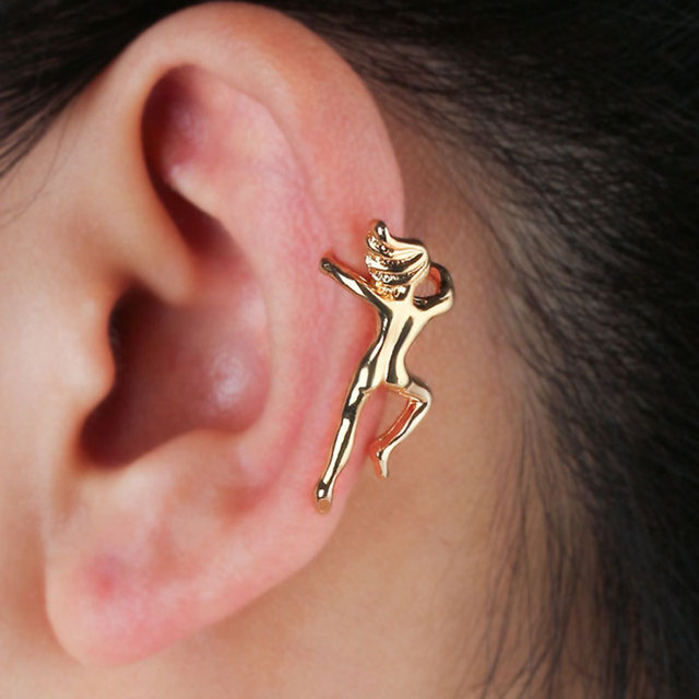 2018 New 2 Pcs 1lot Hot Gold Silver Cuff Earrings Ear Clip Climbing Man