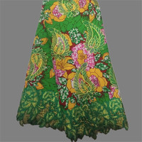 Excellent green with flower printed African embroidery wax fabric with cord lace for making dress WLF141(6yards/lot)