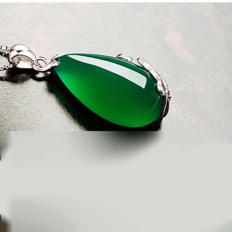 Begua Ringen Vintage 925 Sterling Silver Verde Smeraldo Della Pietra Preziosa Del Pendente Della Collana Del Partito Da Cocktail Gioielli Delle Donne Regali All'ingrosso