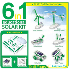 DIY 6 в 1 обучающий комплект солнечных роботов Игрушки лодка Солнечный DIY энергетический вентилятор Новинка и кляп игрушка