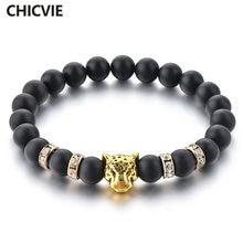 Chicvie золотые браслеты с шармами головой леопарда черным ониксом