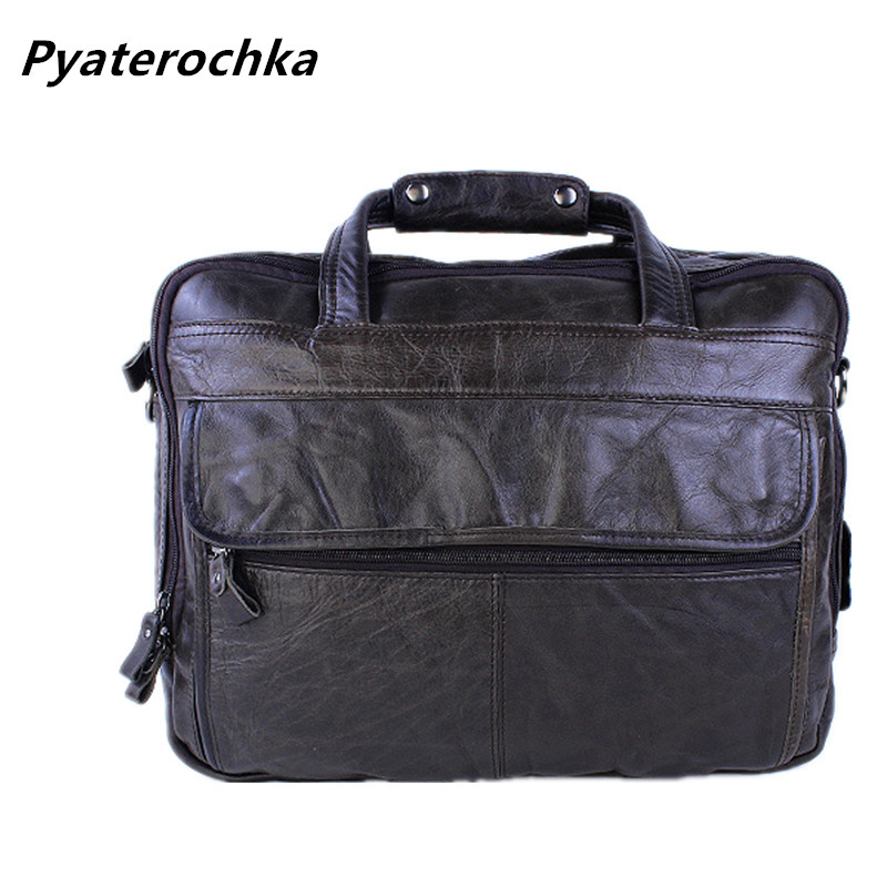 Pyaterochka Brand Men Genuine Leather Briefcases Office Shoulder Bag Vintage Handbag bags High Quality Man Messenger Bag 15 InchPyaterochka Brand Men Genuine Leather Briefcases Office Shoulder Bag Vintage Handbag bags High Quality Man Messenger Bag 15 Inch