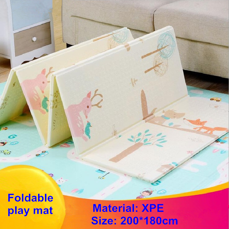 XPE 200*180cm Baby Foldable Play Mat Develope Crawling Pad Home Portable Outdoor Folding Waterproof Puzzle Carpet Game Mat baby crawling mat activity game play mat thicken xpe folding non slip moisture proof home baby gym crawling mat playmat magic
