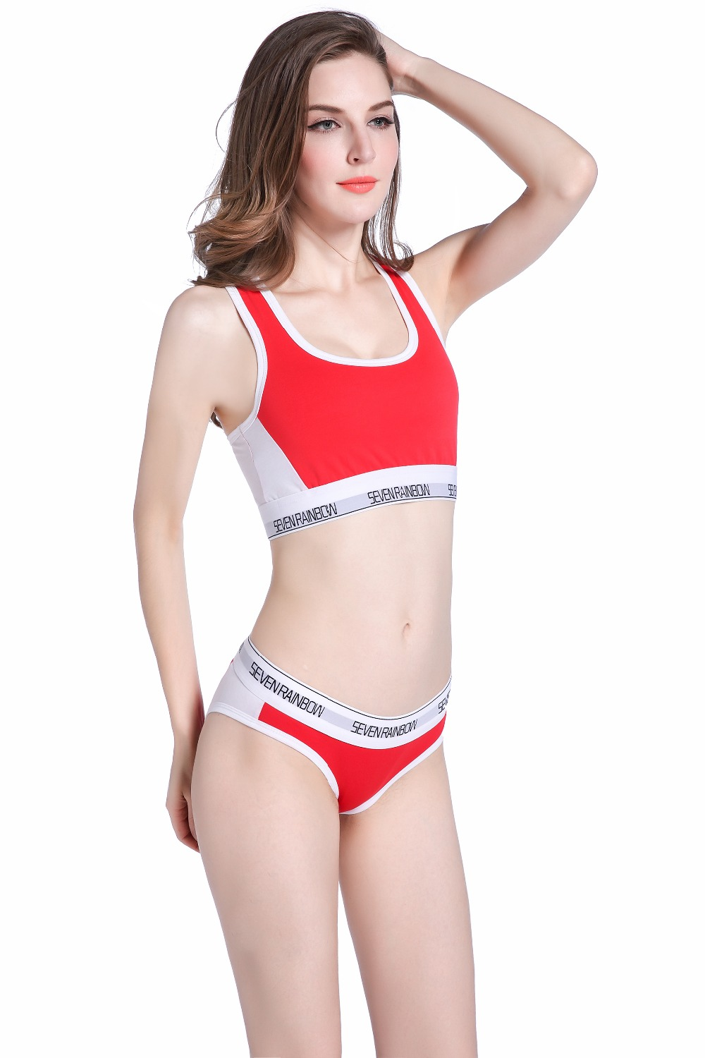 533340576f795 SEVENRAINBOW New style women s underwear color mixing Bra Set cotton Briefs  Bras Sets comfortable Vest intimates Seamless Sexy