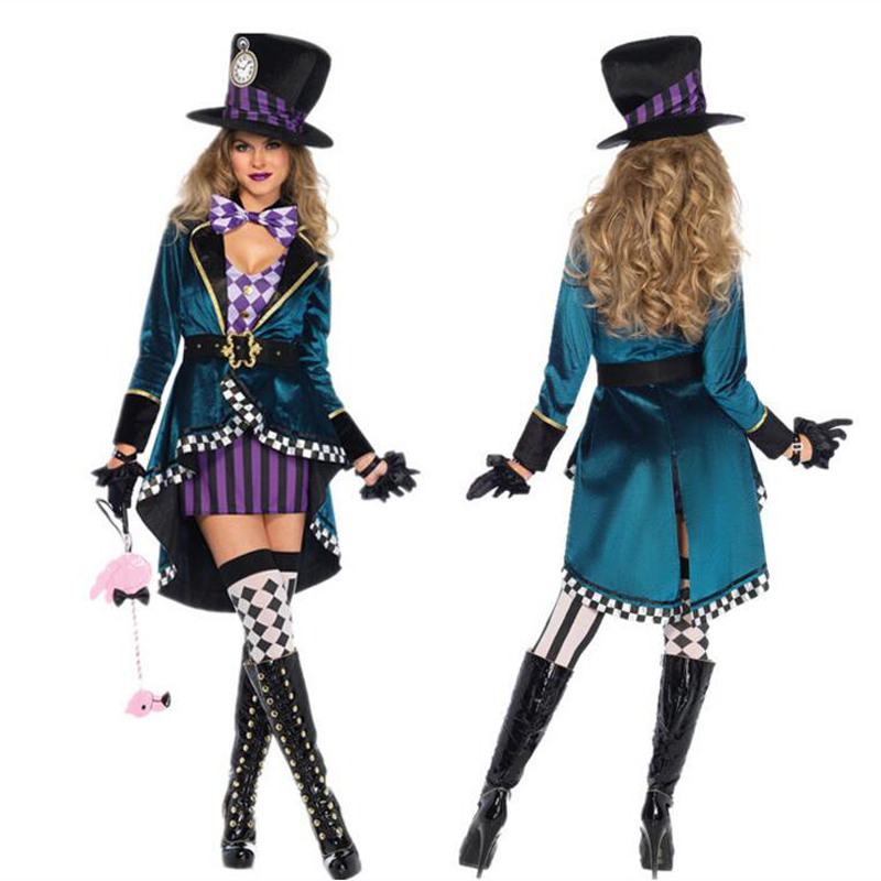 Halloween Alice in Wonderland Costumes Women Adult Magician Cosplay Girls Princess Quess Magic Fancy Party Dress