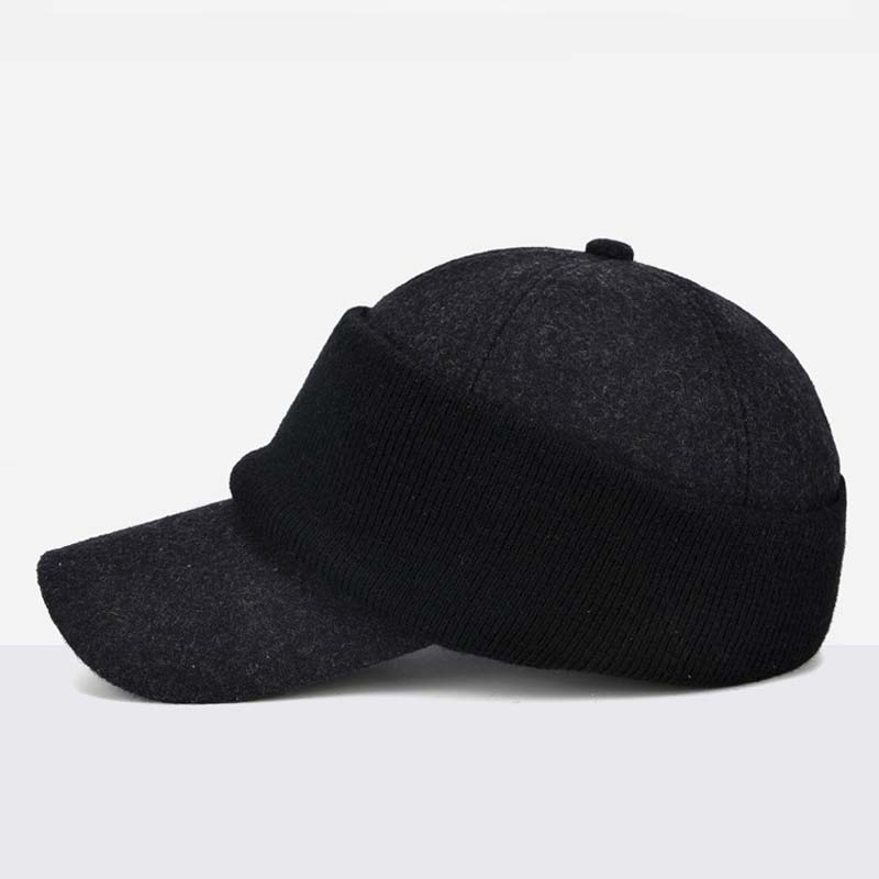 23700b89 Fibonacci A variety of ways to wear men's winter hat warm ear protection  thick middle aged elderly knit wool blend baseball cap-in Baseball Caps  from ...