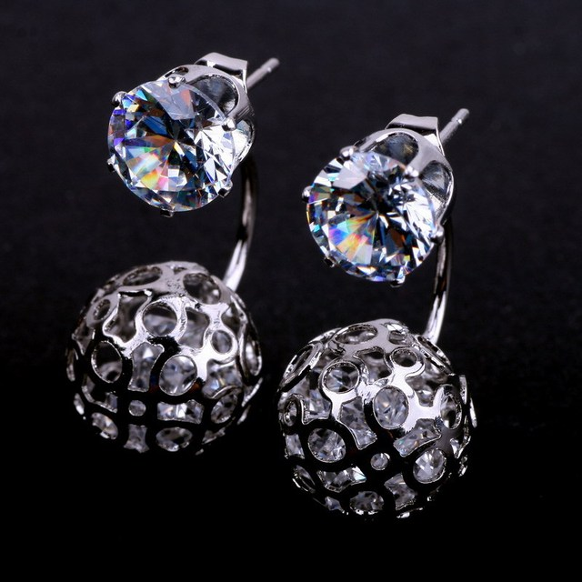 New Design For 2017 Hollow Ball Stud Earrings Platinum Silver Plated Jewelry Crystal
