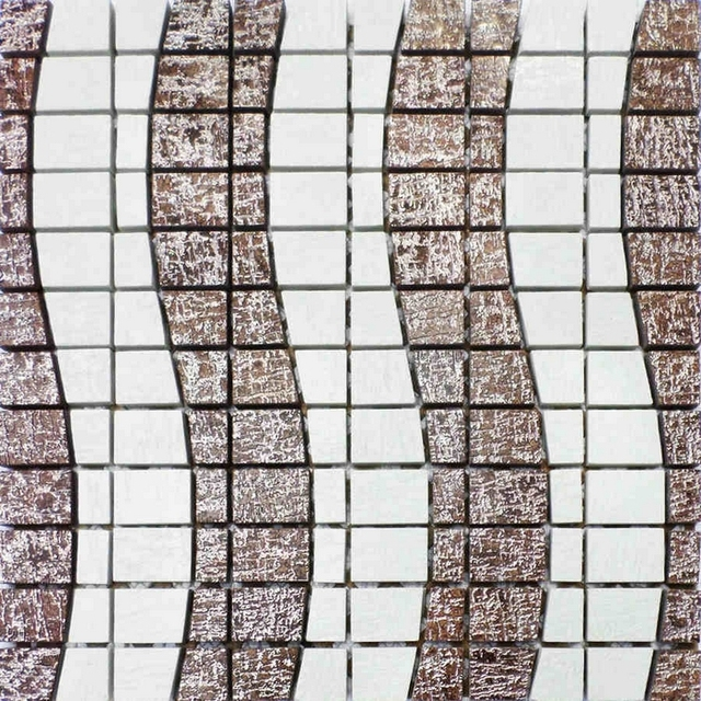 Brown Mixed White Color Irregular Wave Pattern Ceramic Mosaic Tile For Bathroom Wall Living Room Border
