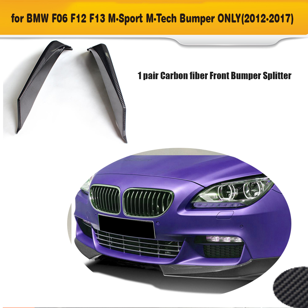 6 Series Carbon Fiber front bumper splitter for BMW F06 F12 F13 M Sport 2012 - 2016 Convertible 650I Non M6 AC style dual slats abs front grille for bmw m series f06 f12 f13 m6 2012 2013 2014 2015 on glossy black finish m look