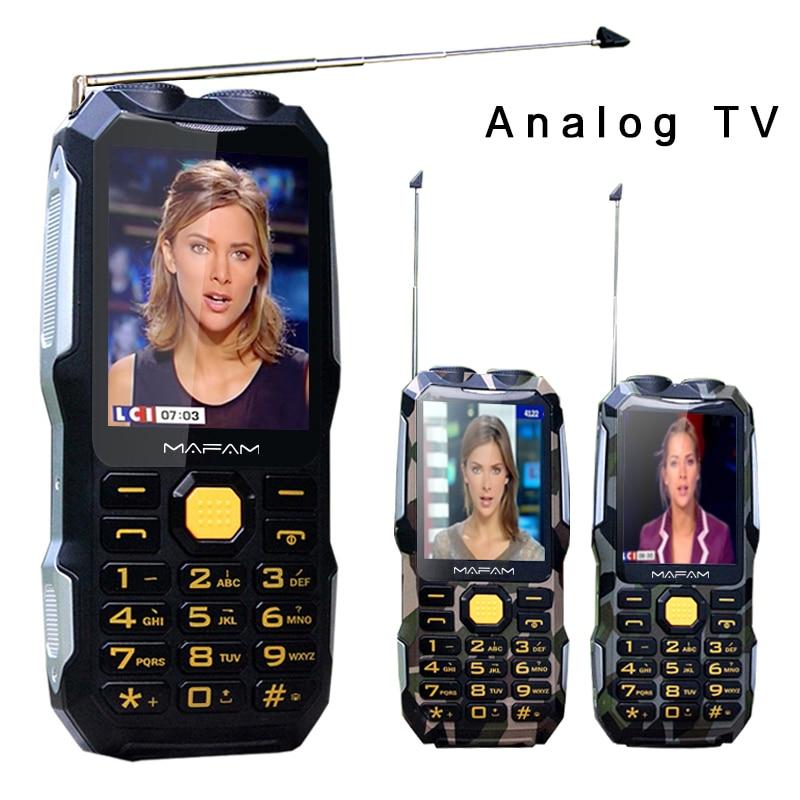 Mafam D2016 Magic Voice Dual Flashlight FM 13800mAh MP3 MP4 Power Bank Antenna Analog TV Rugged Mobile Phone Russian Key