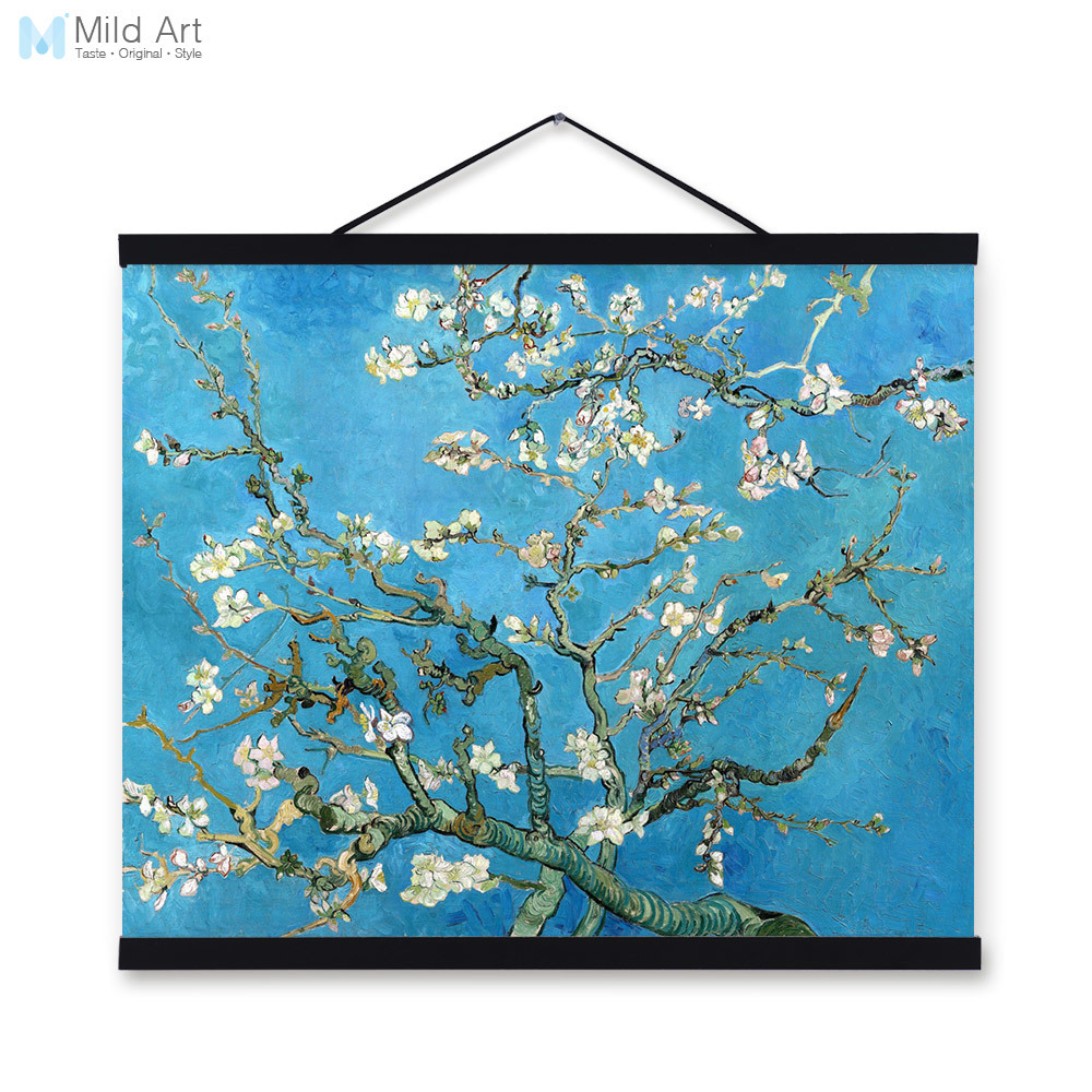 Vincent Van Gogh Famous Blue Modern Impressionist Flowers Poster