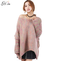H SA Fashion Women Winter Pullover Sweaters Oneck Casual Sexy Oversized Pull Jumpers Batwing Sweaters Korean
