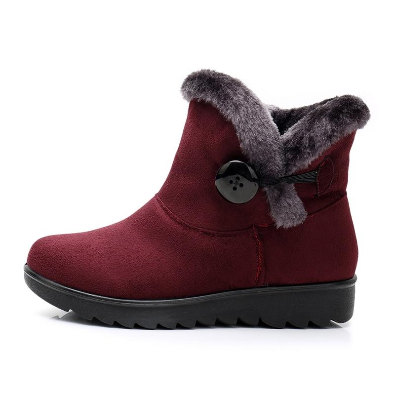 bc81cb7eebb Comprar 2018 botas de Invierno para mujer botas de tobillo para mujer  zapatos de invierno moda Casual negro rojo marrón cálido botas de nieve  para mujer ...