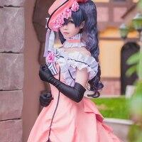 כומר שחור השחור באטלר Ciel Phantomhive Cosplay תלבושות עם כפפת כובע בגדי נסיכת שמלה