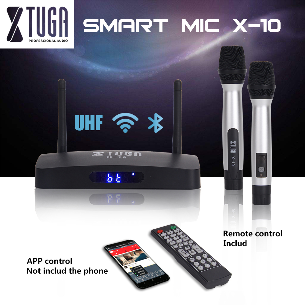 XTUGA X-10 SMART MIC UHF Dual channel wireless Handheld Microphone with Bluetooth Receiver system,MP3 USB SD Readers,USE for par xtuga ew240 4 channel wireless microphones system uhf karaoke system cordless 4 bodypack mic for stage church use for party