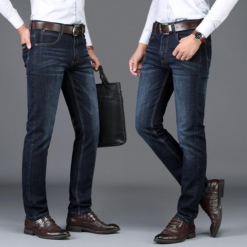 SULEE Brand Men's Jeans Stretch Blue Denim Business Slim Fit Jeans Size 38 40 Autumn Winter Jean For Men