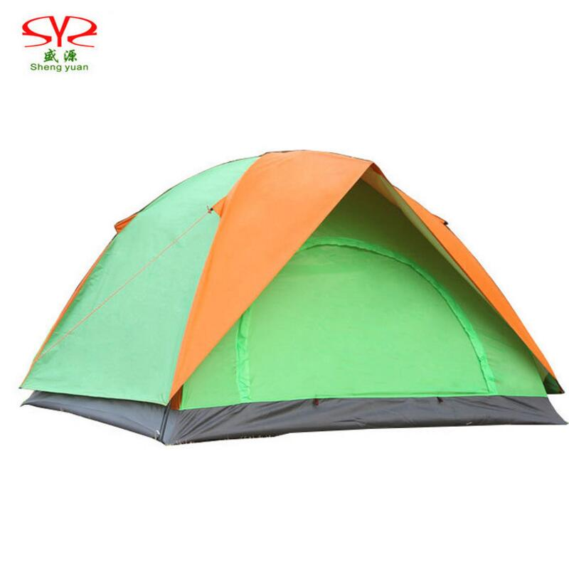Outdoor Camping Tent 2 3 Person Double Layer Waterproof Tent Awning Recreation Double Door Beach Tourist Tents Camping Family