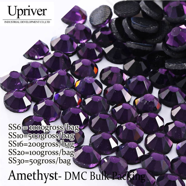 Bulk Packing Best Quality Flatback Shiny Stones SS6 SS10 SS16 SS20 SS30  Amethyst Hotfix Rhinestones ce663be988b8