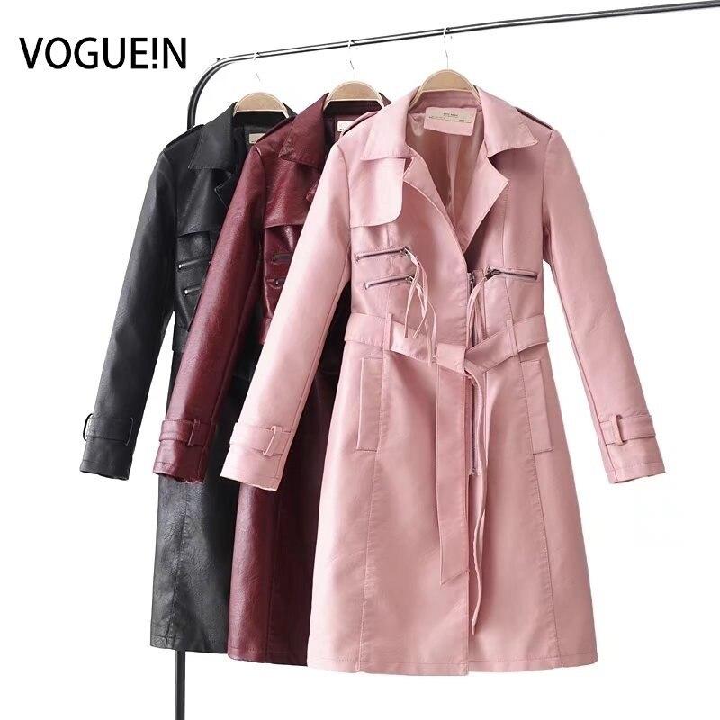 VOGUEIN 2018 New Womens Fashion Faux   Leather   Jackets Long Coat Outerwear Coat Bow Belt 3 Colors Wholesale