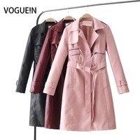 Voguein 2018 nueva moda faux cuero Chaquetas escudo abrigos abrigo largo cinturón arco 3 colores al por mayor
