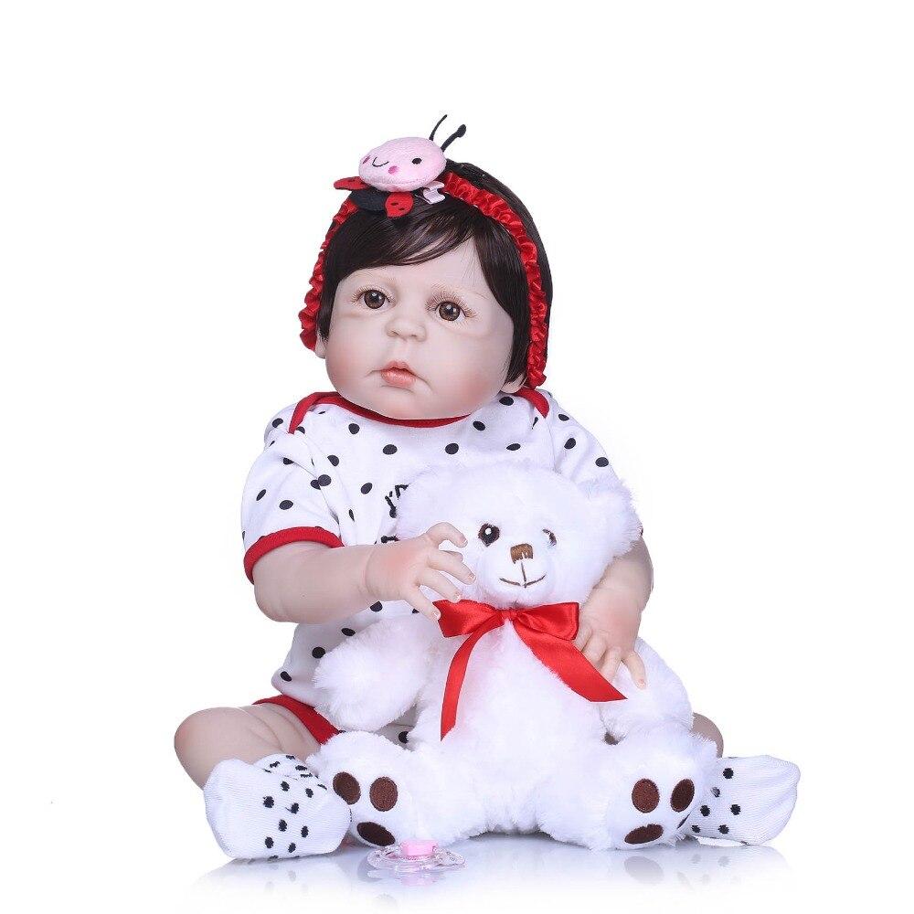 NPKCOLLECTION Full Silicone Body Reborn Baby Doll Toys LifeLike Real 22inch Newborn Girl Princess Babies Doll Bathe Toy Kid Gift
