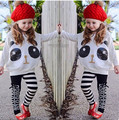 New Girls Spring Autumn Children's Clothing Sets Cartoon Panda Girl Long Sleeve T-shirt+Stripe Casual Pants Suit 3-7Years old