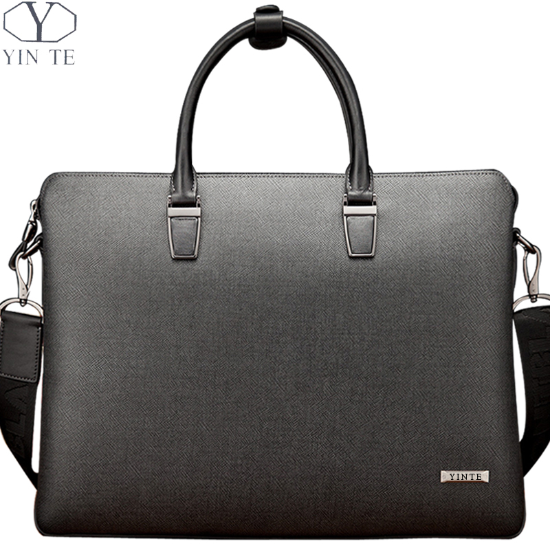 YINTE 2016 Men's Briefcase Leather Men Business Handbag Gray Black Bag Messenger Male Shoulder Bag Lawyer Bags Portfolio T8518-4 yinte leather men s briefcase black bag fashion business messenger totes laptop bag ostrich prints men s portfolio t8518 6