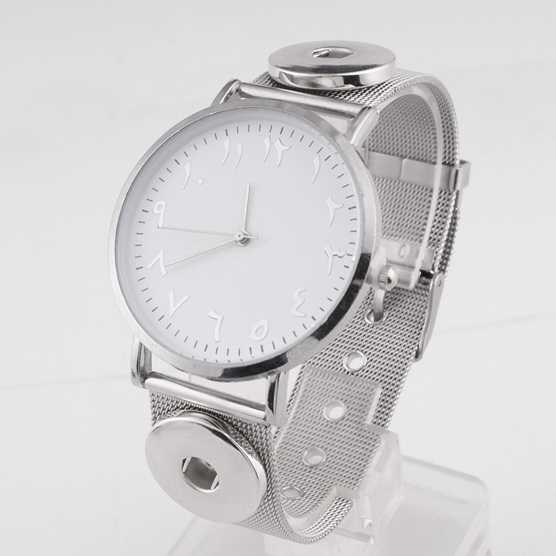 Snap-Button Watch Stainless-Steel Good-Quality NEW Fashion Crystal 18mm 12mm T566