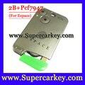 Frete Grátis (1 pcs) excelente Qualidade Verde Lâmina 2 Botão de Cartão Inteligente Para Renault Espace Cartão com Chip pcf7947 433 MHZ