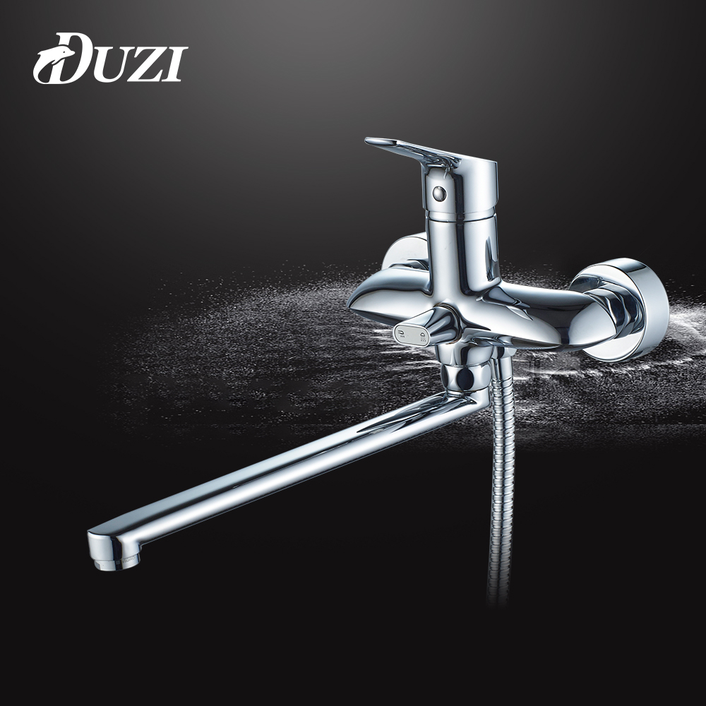 DUZI Single Holder Dual Control Bathroom Shower Brass Chrome Wall Mounted Shower Faucet Shower Head sets Cold And Hot Taps D5123