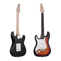 ammoon Electric Guitar 21 Frets 6 String Paulownia Body Maple Neck Solid Wood with Speaker Pitch Pipe Guitar Bag Strap Left Hand