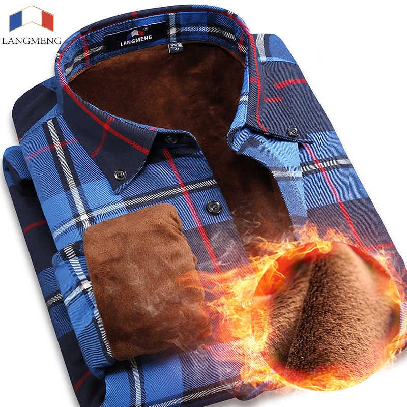 クリアランススーパー暖かいカジュアルシャツブランド品質男性長袖メンズチェック柄オフィスドレスシャツ厚いメンズサーマル冬