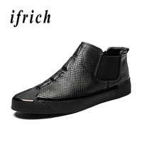 New Arrival Young Casual Boots for Boy Black Chelsea Boots Male Genuine Leather Winter Boots Mens Comfortable Flats Shoes Men