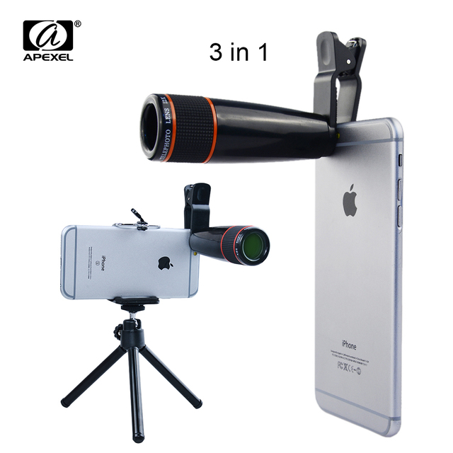Universal 12X Zoom Clip Telephoto Manual Focus Telescope Camera Phone Lens with Tripod + Holder for iPhone Samsung HTC  12X3in1