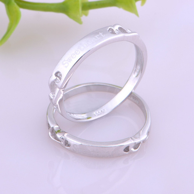 Couple Rings 18 K White Gold Luxury Jewelry Fashion Simple Design