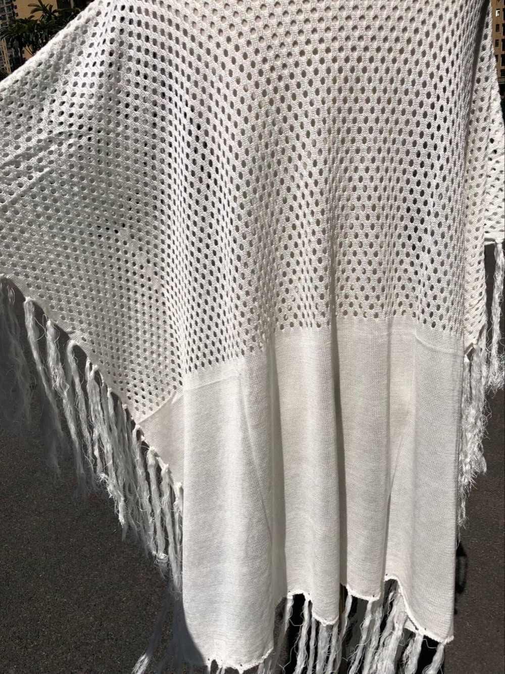 d2cb33158aa ... 2019 Fringed Summer Women Beach Wear Swim Suit Cover Up Bath Dress Sexy  White Crochet Tunic ...