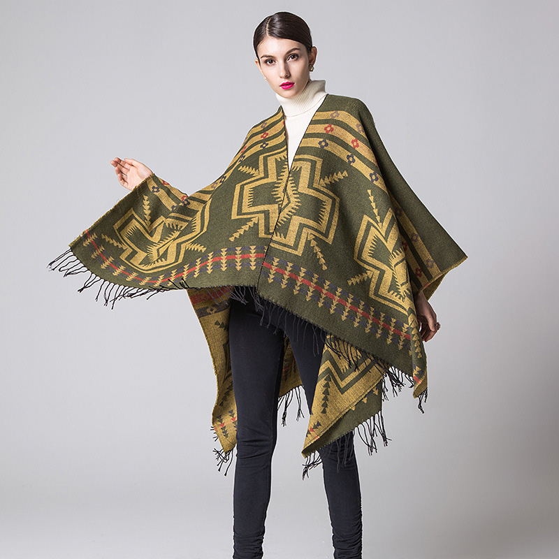 FXFURS Autumn Winter Scarves Shawl Lady Poncho Scarf Women's Ethnic Geometric Jacquard Shawl Scarf With Tassel Cashmere Scarf