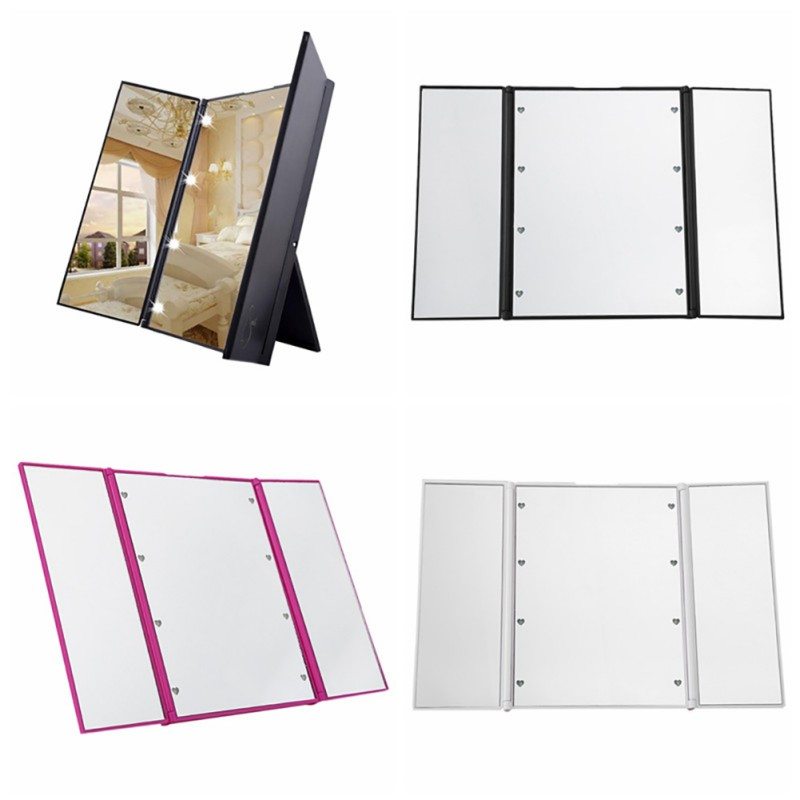 LED Touch Screen Makeup Mirror Magnifying Mirrors 4 in 1 Tri-Folded Desktop Mirror Lights