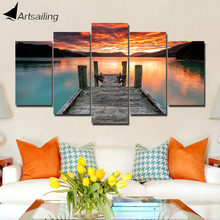 ArtSailing 5 panel canvas art print HD decorative painting pictures river Wooden bridge ny-4195