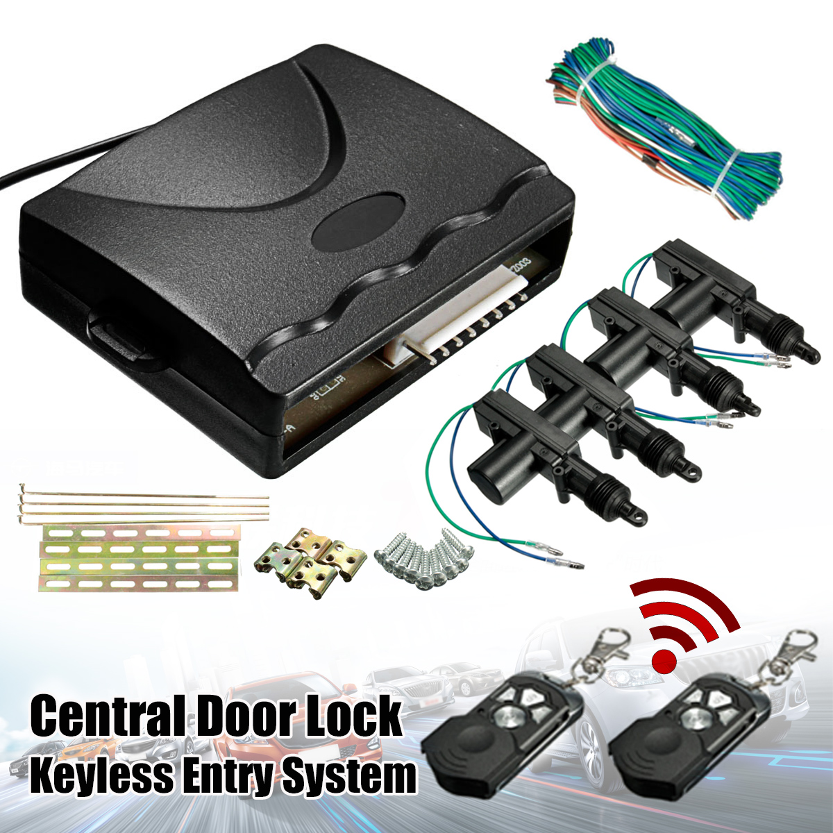 360 Degree Rotation Universal Car Auto Remote Central Fob Alarm Security Kit 2 4 Door Bracket Locking Keyless Entry System