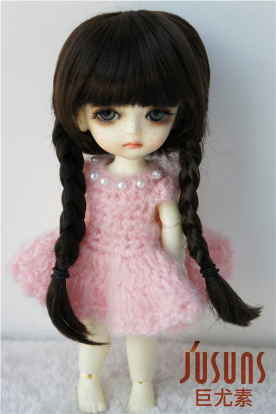 JD018B 1/8 Lati yellow doll wigs 5-6inch  13-15CM synthetic mohair BJD wigs Anne double braid wig jd199 1 8 1 6 cute lati doll wigs size 5 6 inch 6 7 inch fashion synthetic mohair bjd wig twin pony wig doll accessories