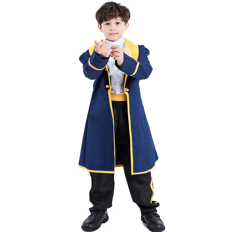 Halloween Children Beauty and the Beast Prince Adam costume Boy Prince suits Cosplay Costume 3Y-7Y