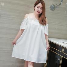 Summer Sleep Lounge Lady Sleepwear word collar strapless Lace Nightdress Women White Nightgown Plus Size T166