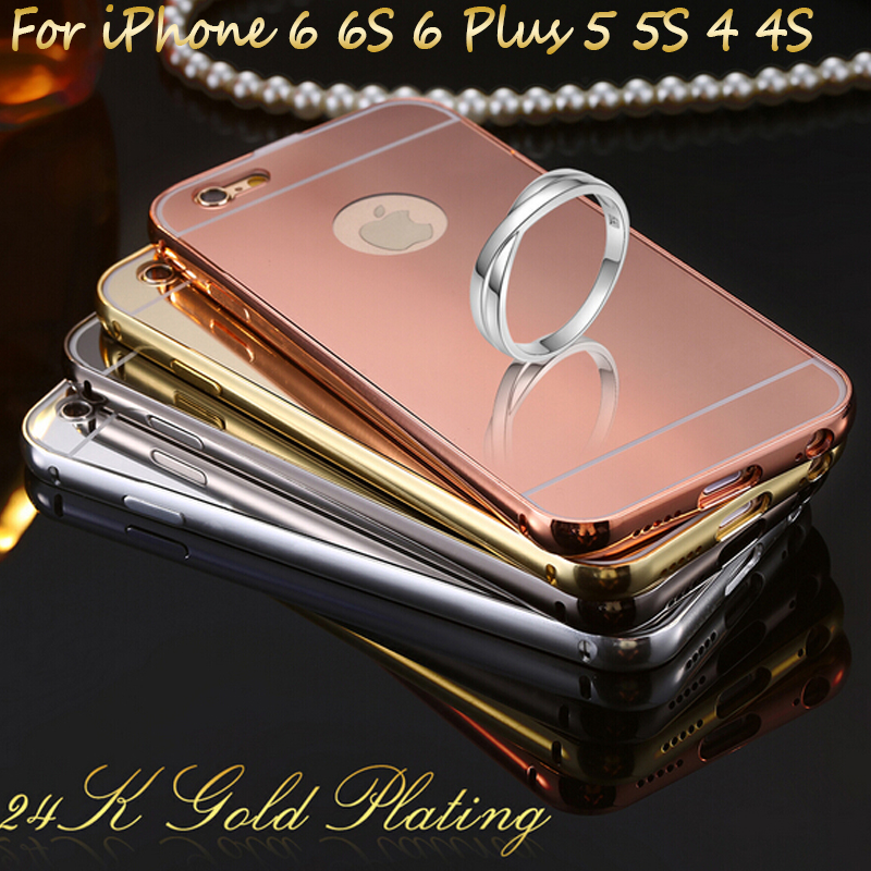 Mirror Aluminum Case For iPhone 7 Luxury Slim Acrylic Back Cover For iPhone 7 Plus 6s Plus 5 5S 5C 4 4S Mobile Phone Capa Fundas