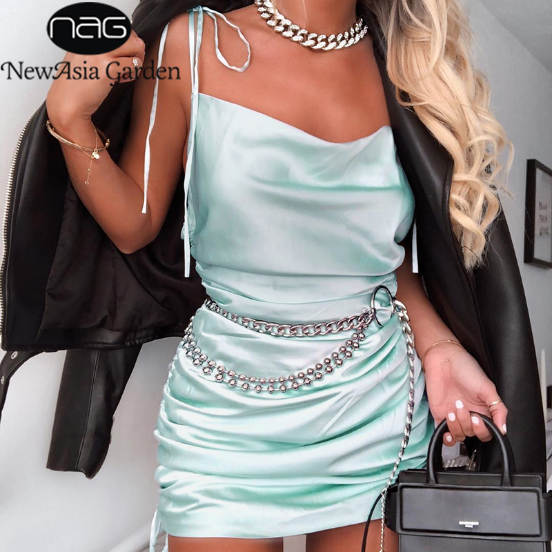 NewAsia Summer Dress 2019 Women Cowl Neck Backless Sexy Party Dress Sides Lace Up Can Adjust Length Drawstring Ruched Dress Mini