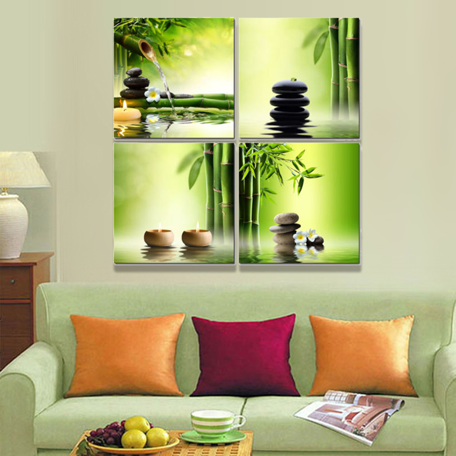 Modern 4 Panel Stretched And Framed Giclee Canvas Prints Bamboo Green  Pictures On Canvas Wall Art Home Office Decor Living Room