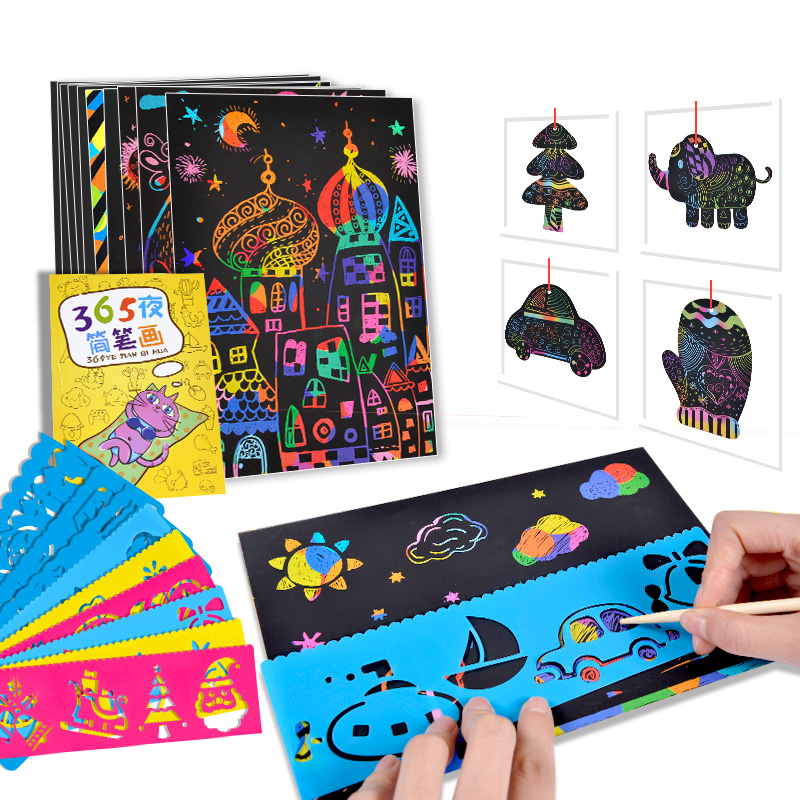50Pcs/set Magic Colorful Drawing Board Rainbow Scratch Paper DIY Drawing Toys Scraping Painting Kid Doodle Painting Scratch Toy